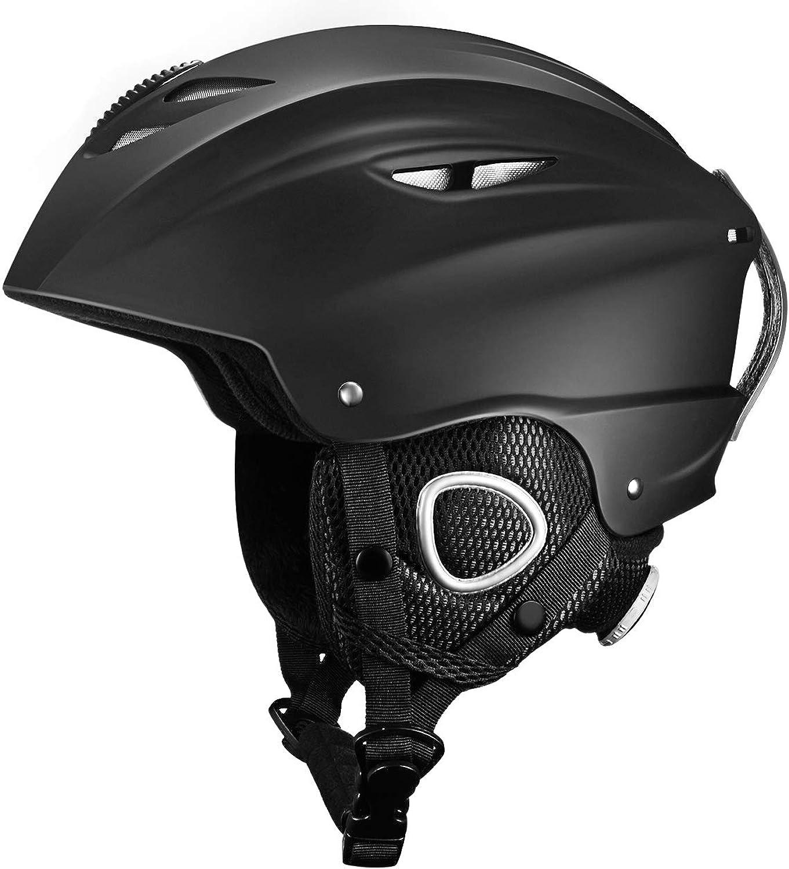 OMORC Ski Helmet, Adjustable Snowboard Sport Helmet with Detachable Soft Earmuff, Velvet Material Lining Snow & Bike Helmet, Airflow Regulator Design and Goggle Retention Strap