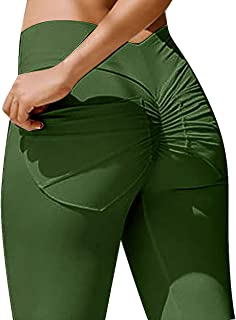MOOSLOVER Women's Ruched Butt Lifting Pocket Leggings High Waisted Workout Yoga Pants