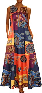 Willow S Women Summer Casual Ethnic Vintage Daily V Ne Sleeveless Boho Floral Sundress Long Loose Tutu Maxi Dress
