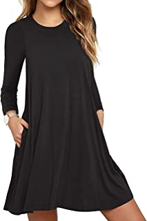 70698f85337 Unbranded  Women s Long Sleeve Pocket Casual Loose T-Shirt Dress