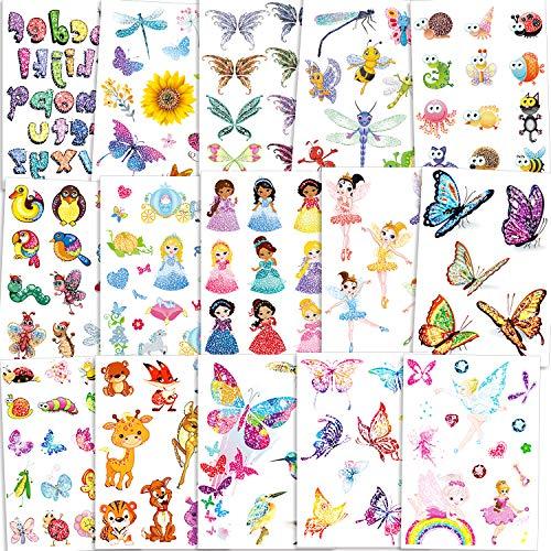 Qpout 180pcs Niños flash tatuaje, flash tatuaje temporal flor hada/disney princesa/mariposa/animal tatuaje pegatina, regalo de cumpleaños para niñas y niños,relleno de bolsa de regalo recompen