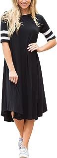 Lovezesent Women Causal Crewneck Striped Short Sleeve Swing T Shirt Midi Dress