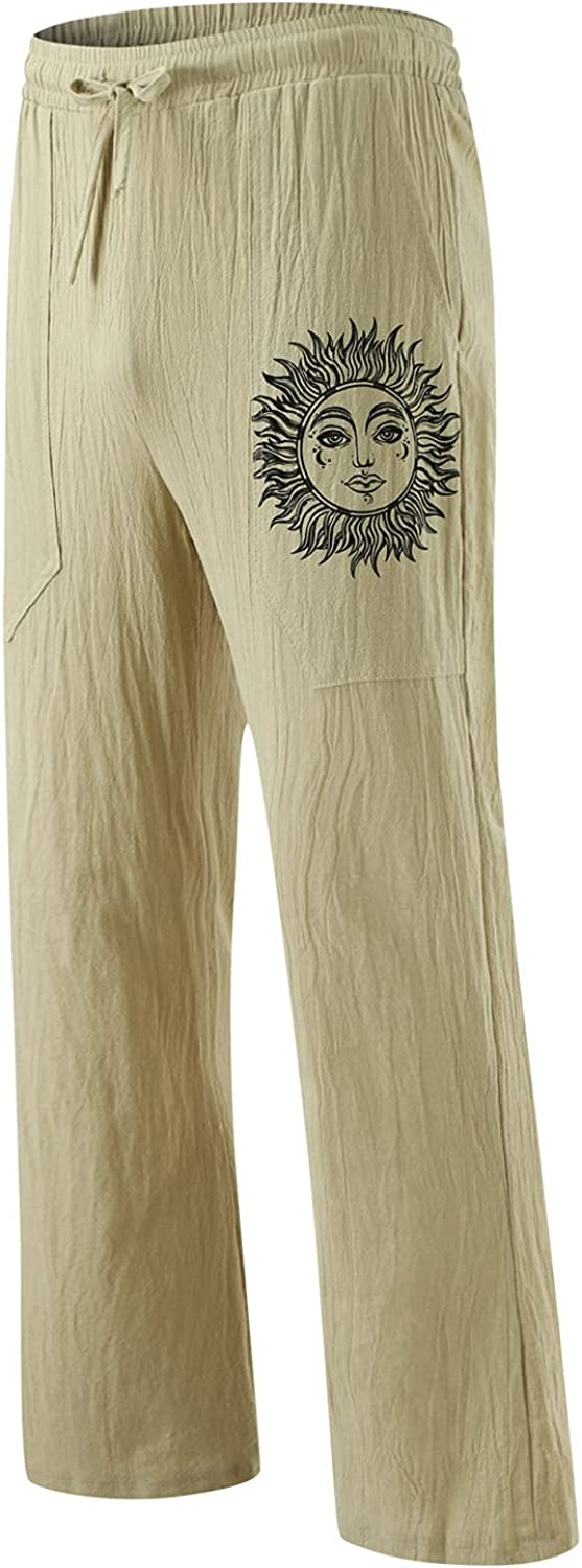 Men's Ranking TOP14 Relaxed Direct sale of manufacturer Fit Linen Cotton Pocket Pants Casual with Printed