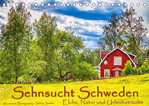 Sehnsucht Schweden - Elche, Natur und Urlaubsträume (Tischkalender 2022 DIN A5 quer)
