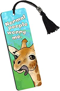 Giraffe Sticking Tongue Out Printed Bookmark with Tassel