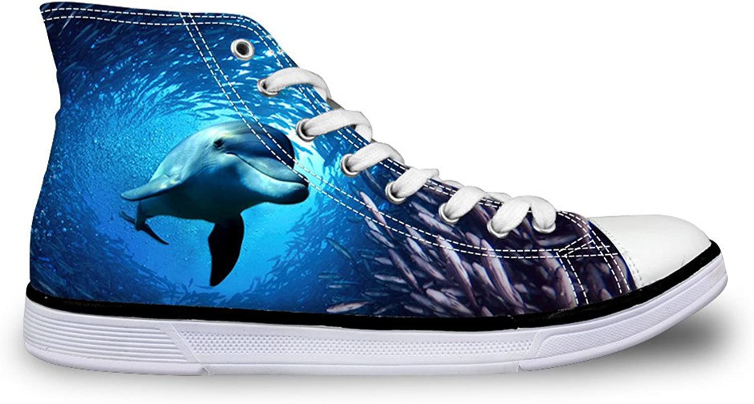 Chaqlin 3D Dolphin Womens Ankle Canvas shoes bluee Laceup Sport Trainer Sneakers for Men Size 39