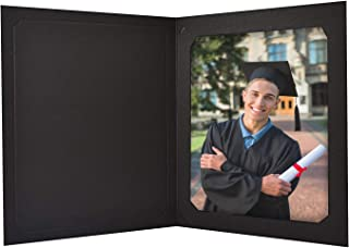 Golden State Art, Pack of 25 - Black Photo Folder - for 8x10 or 6x8 Pictures - Portrait Holders - Sturdy Cardstock, Acid Free - for Weddings, Graduations, Baby Showers, Parties, Events