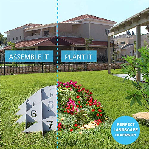Palram Outdoor Round Mound Garden Planter: 3D Gray Plastic Raised Terrace Plant Holder, 16 Squared Sections, 48 Inches in Diameter and 16 Inches Tall