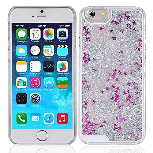 ANYA Transparente Kunststoff 3D Glitter Mode Funkelnde Sterne Quicksand Flüssigkeit Hard Case für Das iPhone 6 Plus 5.5inch Star Silver
