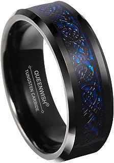 Queenwish 8mm Blue Black Celtic Dragon Tungsten Carbide Ring Wedding Band Size 6-13