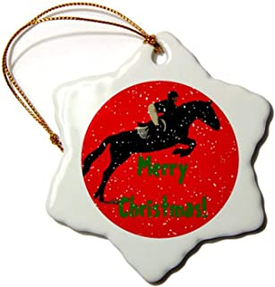 Christmas Snowflake Ornaments, Hunter Jumper Horse Christmas Christmas Tree Ornament,..
