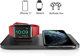 Wireless Charger, Seneo 2 in 1 Dual Wireless Charging Pad with iWatch Stand for iWatch 5/4/3/2, 7.5W Qi Fast Charger for iPhone 11/11 Pro Max/XR/XS Max/XS/X/8/8P, Airpods 2 (No iWatch Charging Cable)