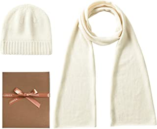 EURKEA Women's 100% Pure Cashmere Scarf, Gloves, Beanie Hat Gift Box Set