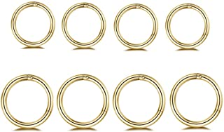 NewZenro 8Pcs Surgical Stainless Steel Sleeper Cartilage Daith Tiny Small Huggie Hoop Earrings Septum Hinged Clicker Nose ...
