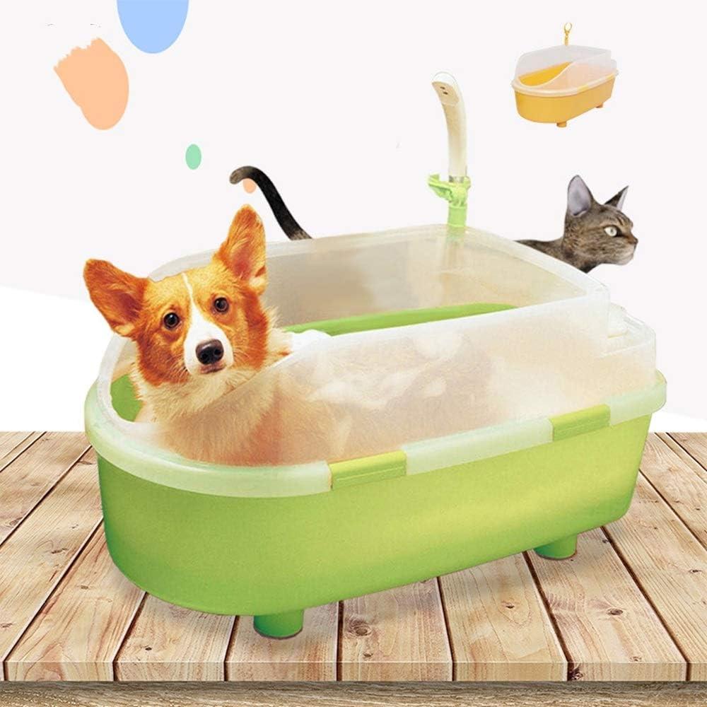 QinWenYan Piscina Infantil para Perros Mascota Bañera con el Gato y el Perro Deflector Bañera Bañera de hidromasaje Piscina Mascota Baño para Exteriores (Color : Verde, Size : 40x45x80cm)
