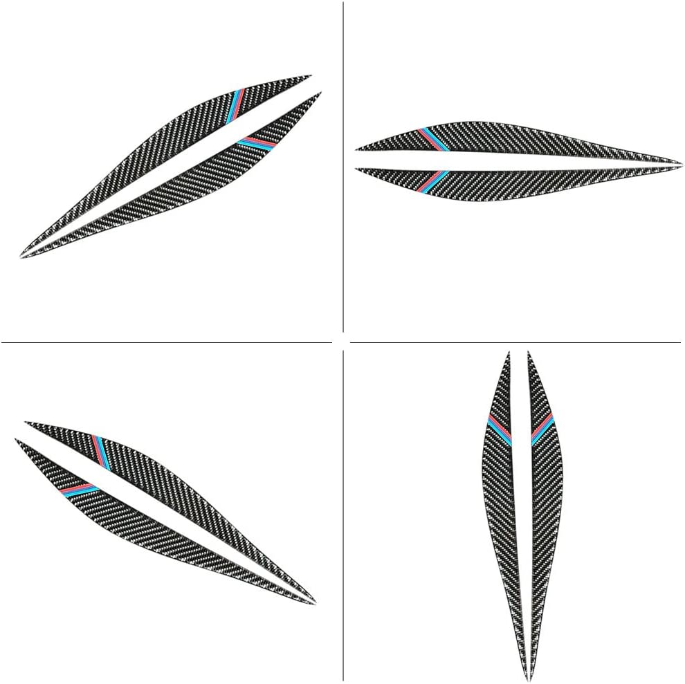Couleur BMW Phares garniture de sourcils en Fiber de carbone phare phare sourcil paupi/ères couverture garniture d/écoration style autocollant pour s/érie 3