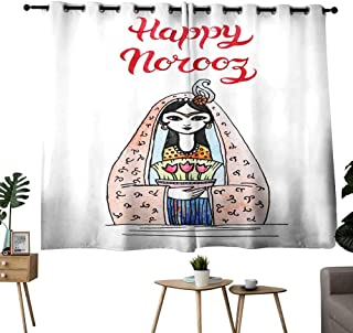 Mannwarehouse Simple Curtain Greeting Card Template with Title Happy Norooz Persian New Year 70%-80% Light Shading, 2 Panels,55
