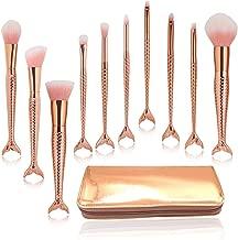 Mermaid Makeup Brushes Set,10pcs Gold Cosmetic Tools Kits Foundation Blending Blush Eyeliner Face Powder Brush with Makeup Bag
