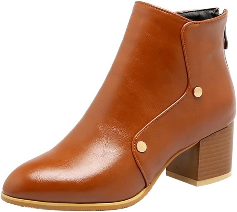 TAOFFEN Women Autumn Winter Heels Dress Boots Zipper
