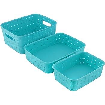 SAXAT Multipurpose Smart Shelf Basket Set of 3 | Storage Basket For Fruits, Vegetables, Magazines, Cosmetics, Stationaries, Storage Basket For Home & Kitchen Use (Set of 3) (Sky Blue)