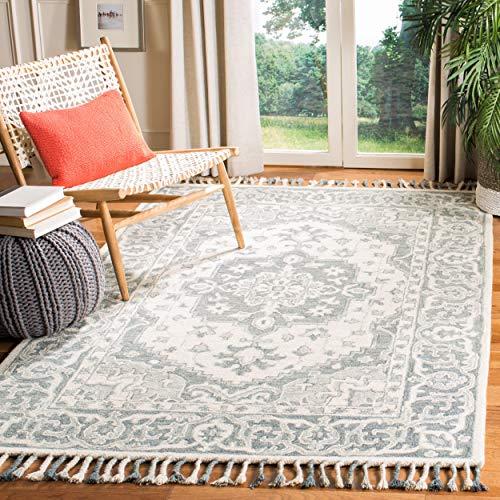 Safavieh Aspen Collection APN122A Handmade Boho Braided Tassel Wool Area Rug, 9' x 12', Grey / Light Grey