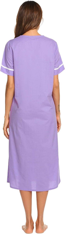 Ekouaer Women's Sleepwear Snap-Front Duster/Casual Nights/Short Sleeve Duster/Housecoat/House Dress Long Nightgown S-XXL