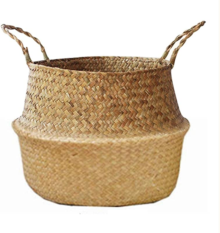 ZTWEY Foldable Flower Basket 2 Pack Woven Basket Decorative Flower Basket Toys Laundry Storage Bin Foldable Woven Straw Basket Pot Basket With Handle Natural Color Straw Small