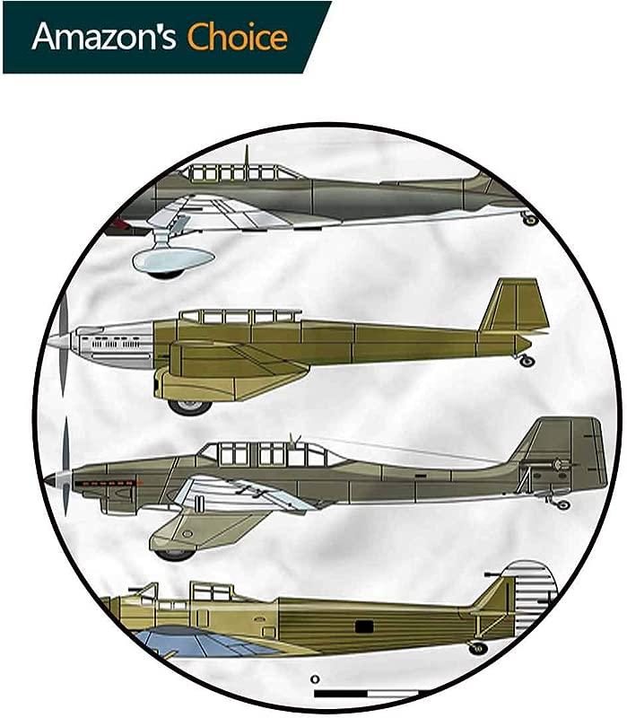 RUGSMAT Airplane Round Area Rug Old Dive Planes Jets Non Skid Bath Mat Living Room Bedroom Carpet Diameter 24