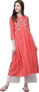 ALENA Women Coral Pink Embroidered A-Line Kurta