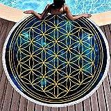 XZ-Sky Mandala Fleur de Vie Géométrie Étoiles Univers Énergie Durable Rond Serviette De Plage in-dian Frange Ronde Plage Camping Couverture