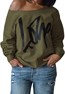 Womens Plus Size Off Shoulder Pullover Sweatshirt Love Wifey Letter Printed Tops Shirts
