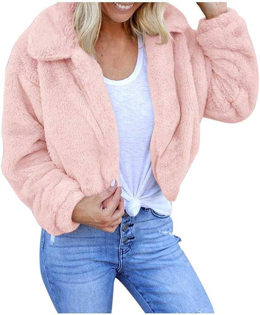 Joyionier Womens Ladies Warm Faux Fur Coat Jacket Turn Down Collar Outerwear Warm Casual Women Top