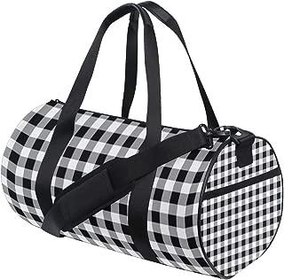 Sports Gym Duffel Barrel Bag Gingham Black White Tartan Travel Luggage Handbag for Men Women