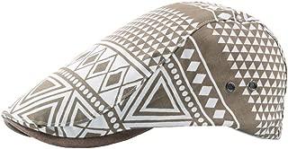 JAUROUXIYUJI New 2019 Beret Cap Summer Cotton Lady Geometric Pattern Cap Vents Outdoor Men's Sun Hat Retro (Color : Light Khaki, Size : 56-58CM)