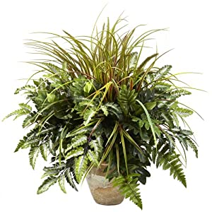 Nearly Natural 6728 28in. Mixed Greens & Grass with Ceramic Planter,10.125″ x 10.125″ x 29″