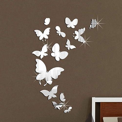 WALPLUS (TM Décoration Murale Papillons Miroir Autocollants–Home, 14, Finition Taille 37cm x 55cm, en PVC, Amovible, adhésif, Multicolore