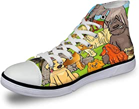 High Top Classic Casual Canvas Sneakers Lace ups Casual Walking Shoes,Funny Dog Wearing Sunglasses Watching a Movie with Popcorn and Soda Print - Womens