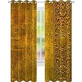 YUAZHOQI Cortinas opacas para oscurecimiento de habitación de papel viejo desgastado con ornamento oriental, 52 x 241 cm, cortina de reducción de ruido