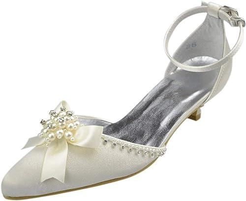 ZHRUI ZHRUI Chaussures de Mariage pour la mariée Fleurs Femmes (Couleuré   blanc-4.5cm Heel, Taille   7 UK)  confortable