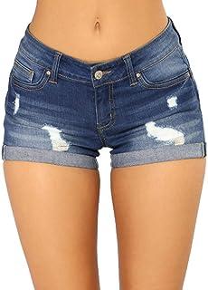 Aiweijia De las Mujeres Corto Pantalones Agujero Roto Moda Medio Cintura Casual Corto Pantalones con Bolsillos