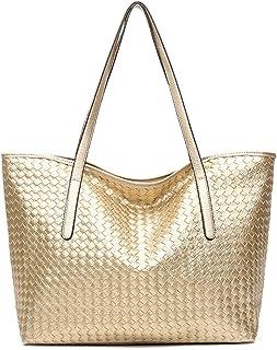 女性トップハンドルサッチェルハンドバッグショルダーバッグトートバッグ財布 - スタイリッシュな純粋なカラー大容量バッグハンドウィーブ - ブラック