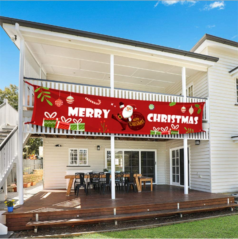 feiwo Large Merry Christmas Banner,Xmas Outdoor & Indoor Hanging Decor,Xmas Sign Huge Xmas Home Party Decoration (Santa Letters)