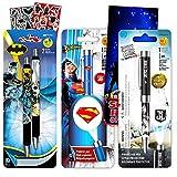 DC Comics Superman and Batman Projector Pen Set, 5 Pc -- Deluxe Batman and Superman Projector Pens, 2 Bookmarks, Stickers (Superhero Office Supplies, School Supplies)