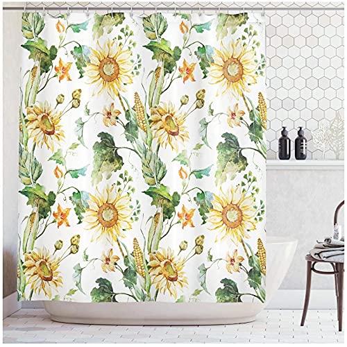 XXzhang Sonnenblumen & Mais Muster Landwirtschaft Kultivieren Natur Kunst Close Up Design Print Polyester Stoff Badezimmer Duschvorhang-180x180cm