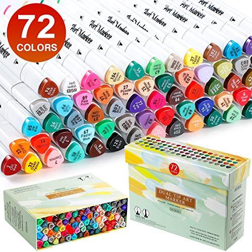 GCQUILL 72 Colors Marcador Arte Marker Pen Set Dibujo Rotuladores permanentes, de Doble Punta para Suministros de Pintura y Dibujo para Niños y Adultos