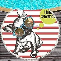 SILVIA  ブルドッグターンビーチタオル犬プリントビーチタオルServette de plage gravidタオル漫画マイクロファイバー150cmのバストーラ子供 かさ (Color : Color 10)