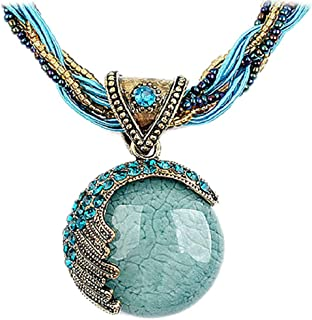 Women's Retro Bohemian Style Turquoise Rhinestone Pendant Collar Chain Necklace