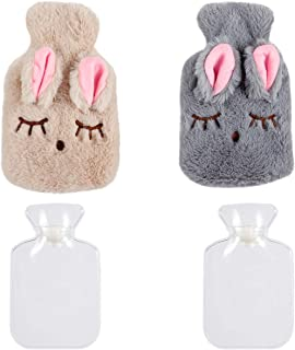 Madholly 2 Pcs Hot Water Bottle Bag with Soft Cozy Cute Rabbit Cover- Portable Rubber Reusable Hand Warmer for Pain Relief...