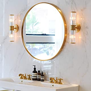 """SHIGAKEN 15.7"""" Small Round Mirror, Circle Wall Mirror, Brushed Metal Frame, Wall-Mounted Mirror, Home Decor, for Bedroom, Bathroom, Living Room, Entryway, Aluminum Alloy -Gold"""