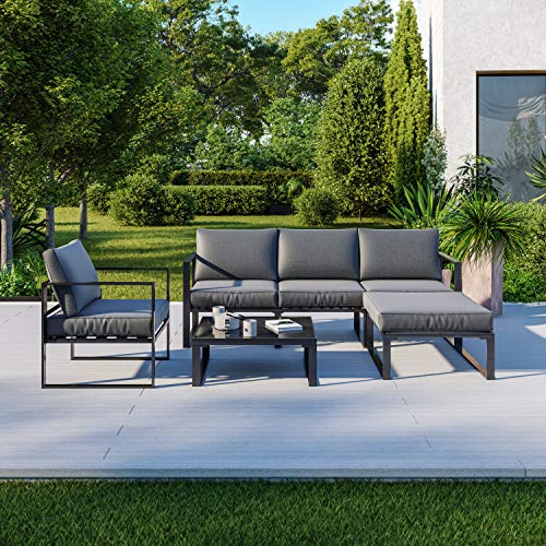 IMS Garden Salon de Jardin Angle Design - 5 Places - Ensemble de Salon Aluminium Couleur Gris - VITO